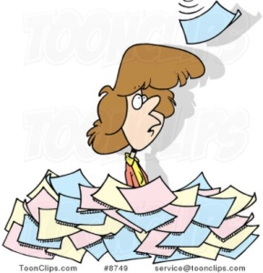 Overwhelmed Paperwork Woman
