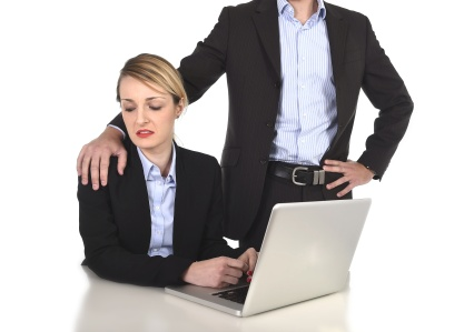 businesswoman suffering work sexual harassment and abuse of boss
